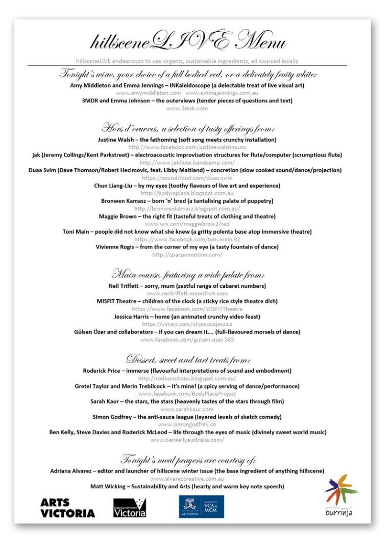 hillsceneLIVE menu